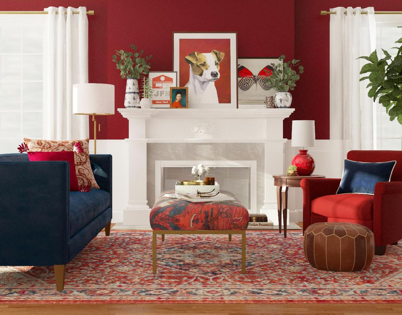 Thiết kế phòng khách màu đỏ kiểu cổ điển