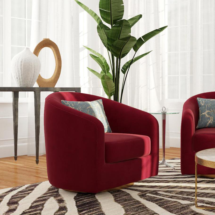 ý tưởng thiết kế nội thất phòng khách với gam màu đỏ