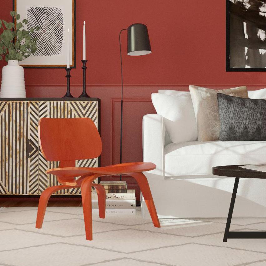 Thiết kế nội thất phòng khách với màu đỏ thanh lịch và sang trọng