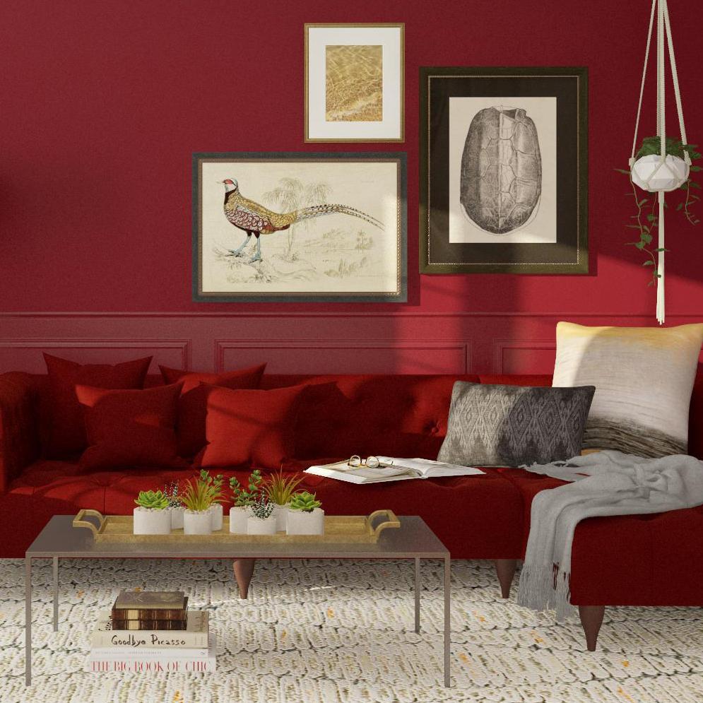 5 ý tưởng thiết kế phòng khách với gam màu đỏ