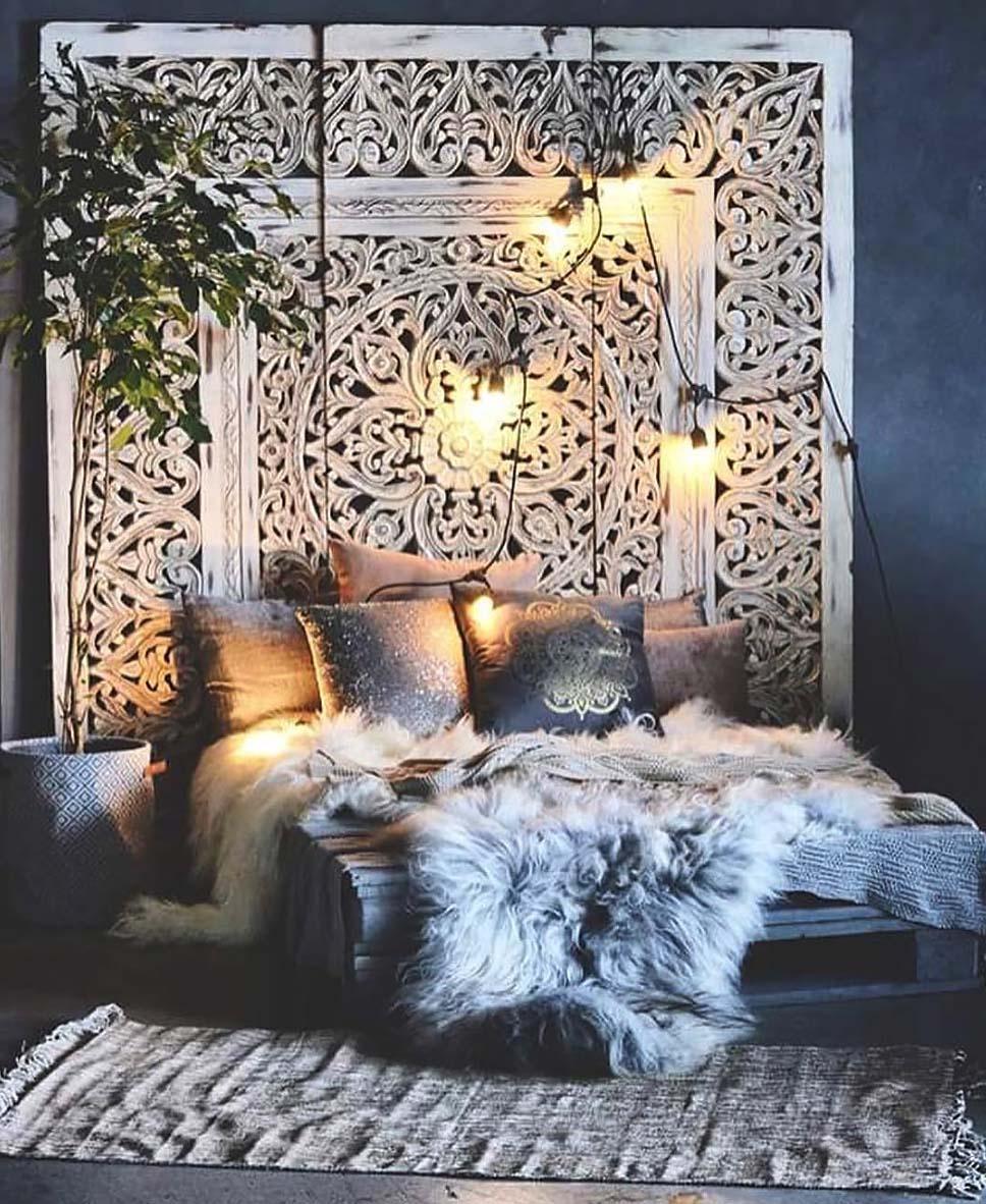 Điểm nhấn cho tường và trần nhà phòng ngủ