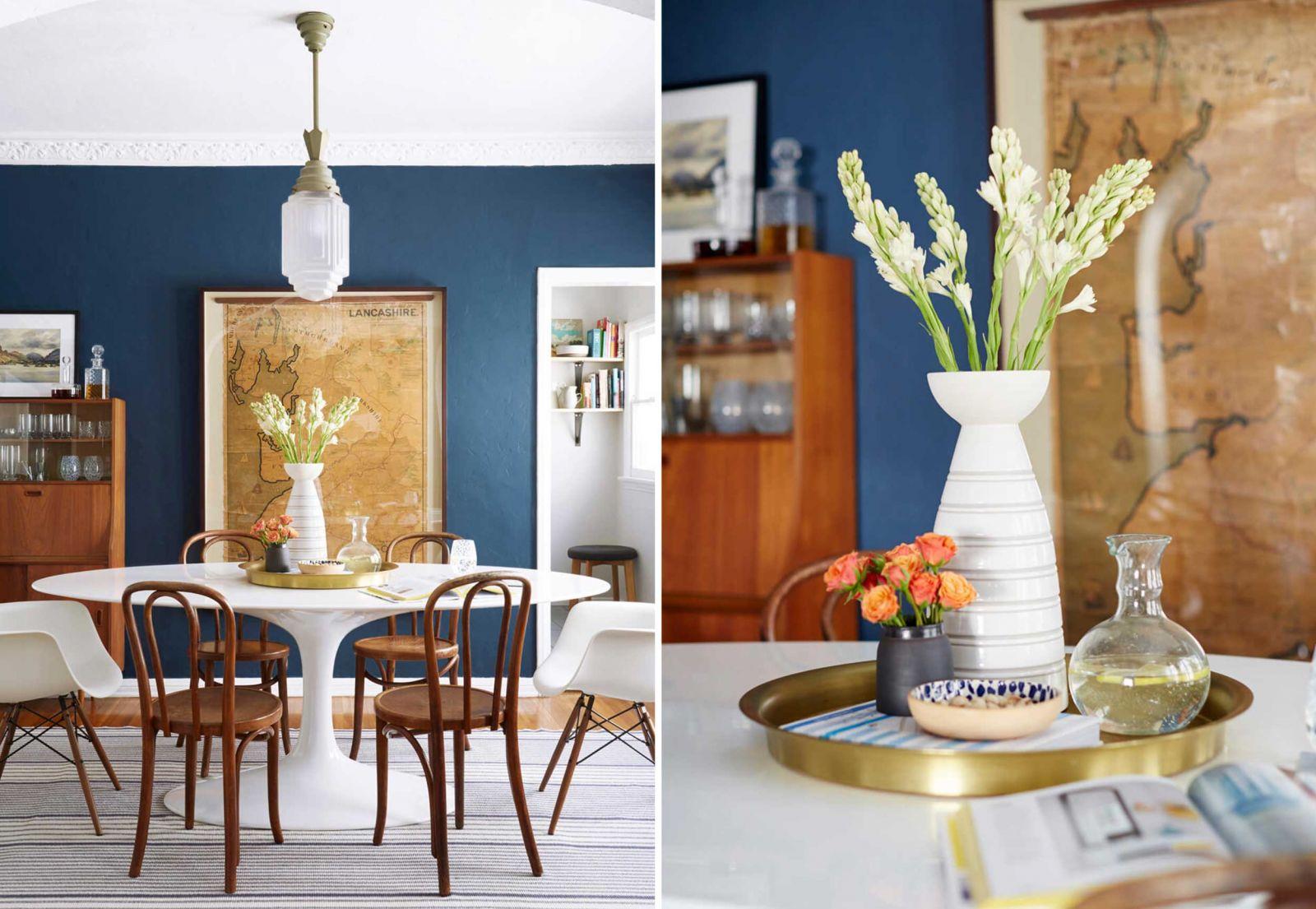 Kết hợp khay với nhiều món đồ thông dụng trong phòng ăn để trang trí