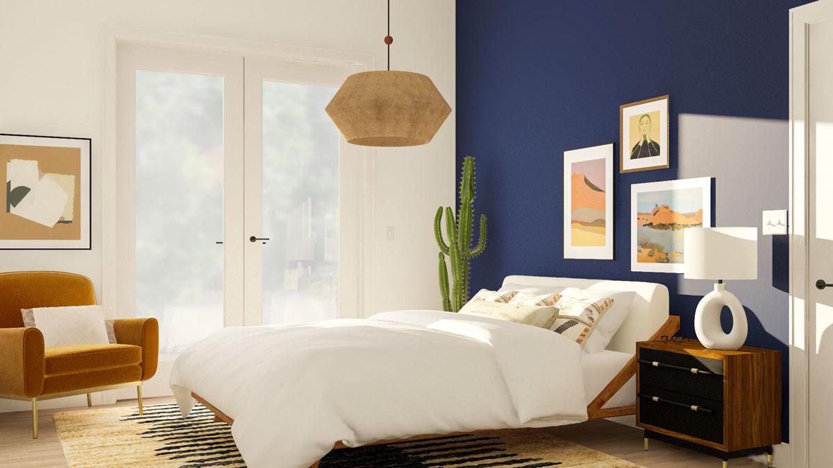 Phòng ngủ kết hợp hai màu xanh làm và cam