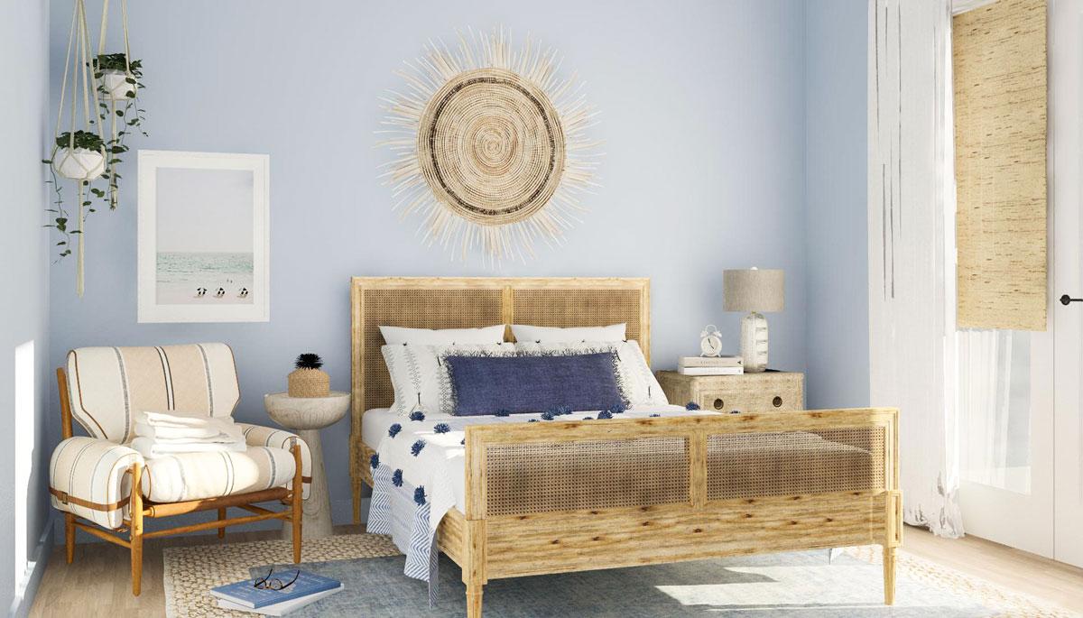 Phòng ngủ xinh xắn màu xanh pastel gợi không khí của biển