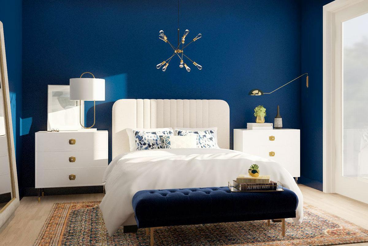 Phòng ngủ màu xanh theo phong cách Tân cổ điển
