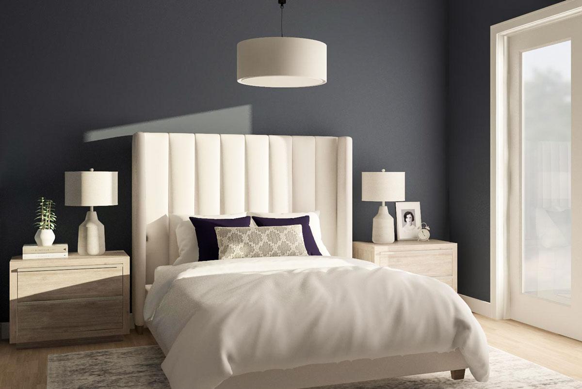 Phòng ngủ kết hợp hai màu xanh và trắng