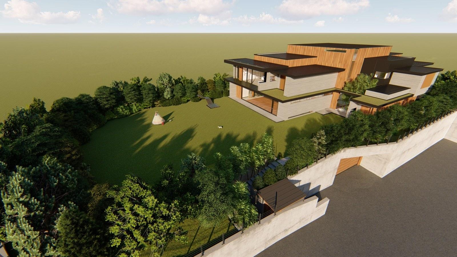 Ảnh 3D minh họa tổng thế không gian kiến trúc của gia đình giàu có họ Park trong phim Parasite