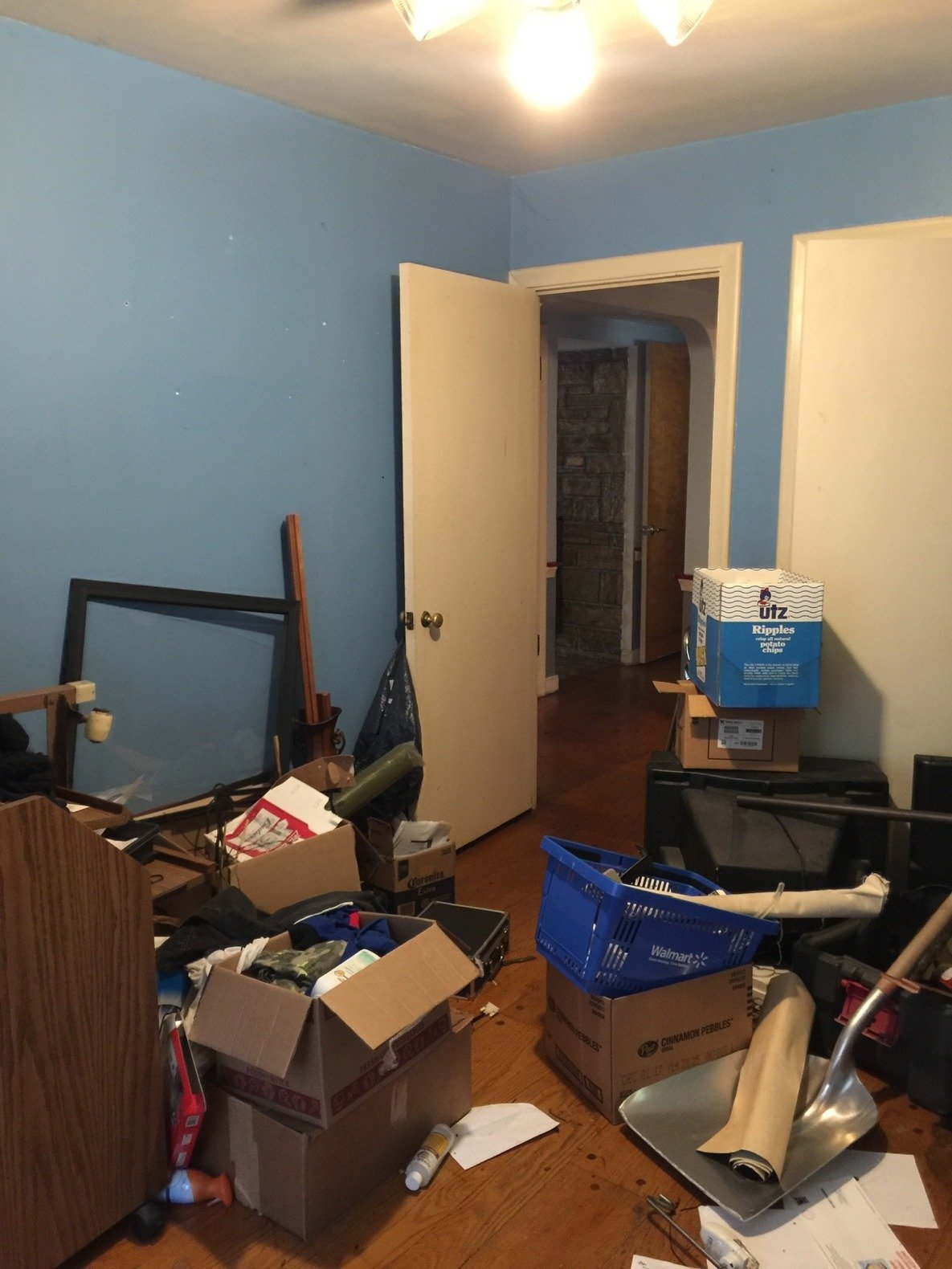 Purchased after foreclosure, the home needed a thorough cleaning before renovations.