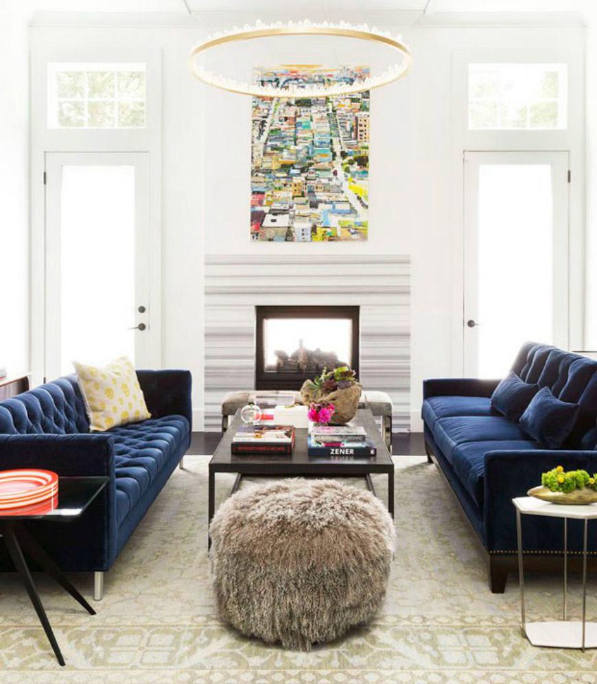 Thiết kế phòng khách đẹp với sofa màu xanh nhung hiện đại