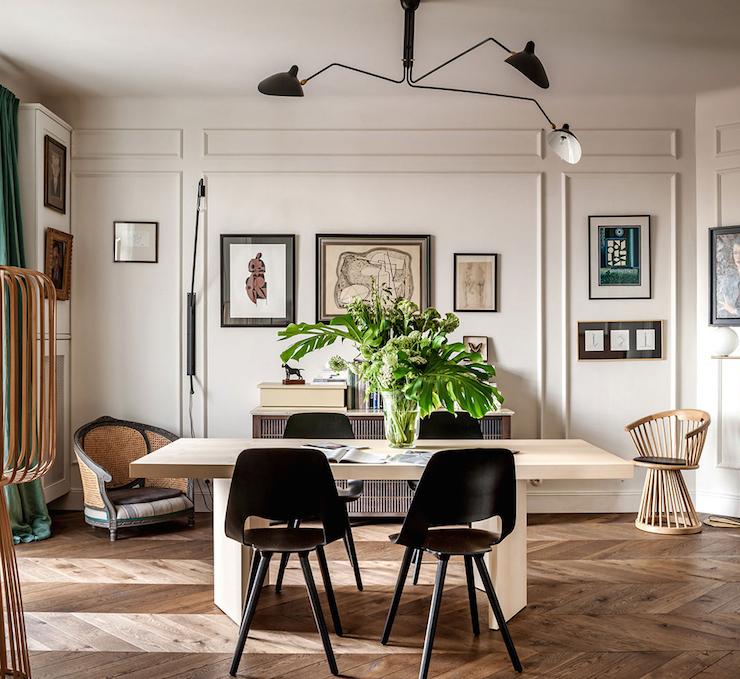 Trang trí nội thất phòng ăn với ghế Eames cách điệu đặc trưng