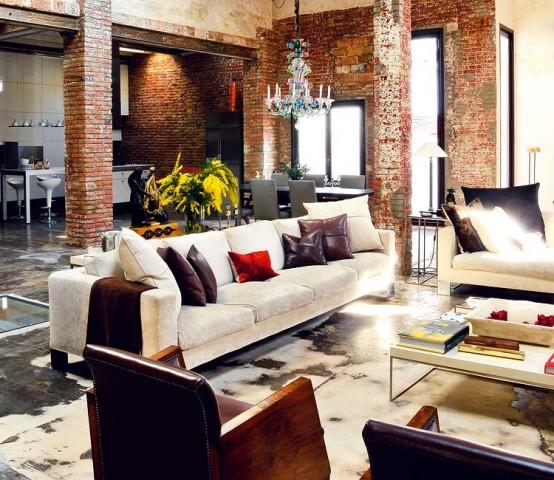 Phòng khách sử dụng thiết kế nội thất công nghiệp