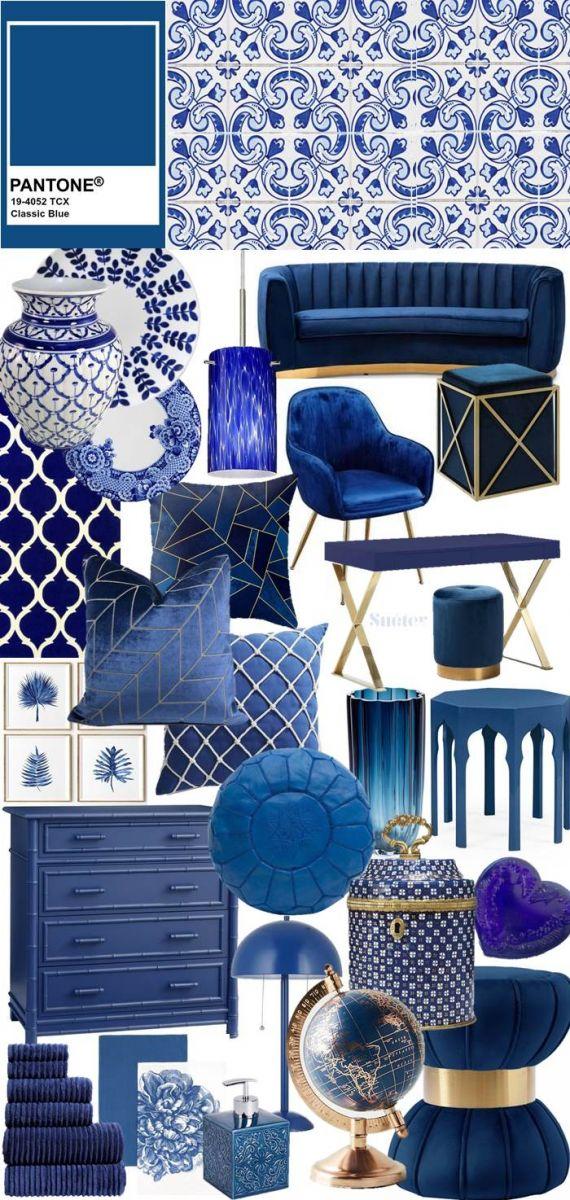 Đồ nội thất màu xanh cổ điển