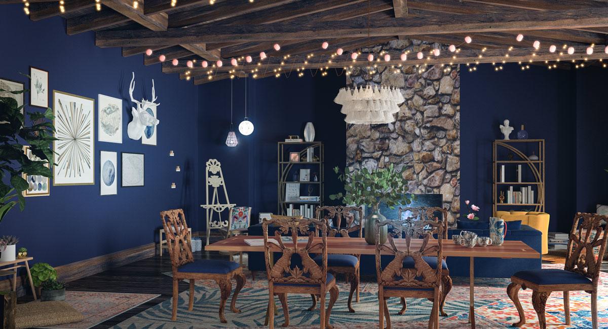 Phòng ăn màu xanh dương - điểm nhấn trong thiết kế nhà ở hiện đại