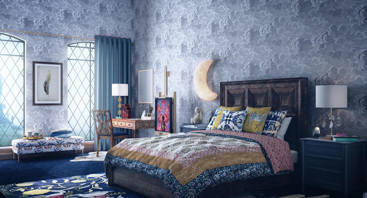Phòng ngủ được thiết kế theo phong cách thanh lịch, hiện đại với tông màu xanh dương