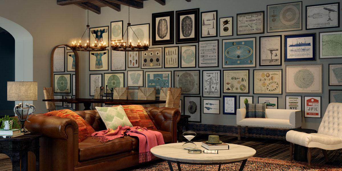 Chiếc sofa đơn cổ điển, chiếc đèn trần cách điệu cùng những khung cửa sổ rộng lớn với tầm nhìn rộng,...tất cả đều mang đến một không gian đủ để bao quát bên ngoài
