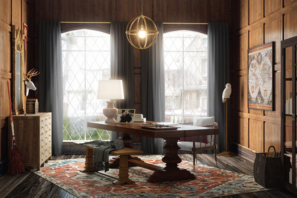 Thiết kế nội thất phòng làm việc của Harry Potter ngoài đời thực