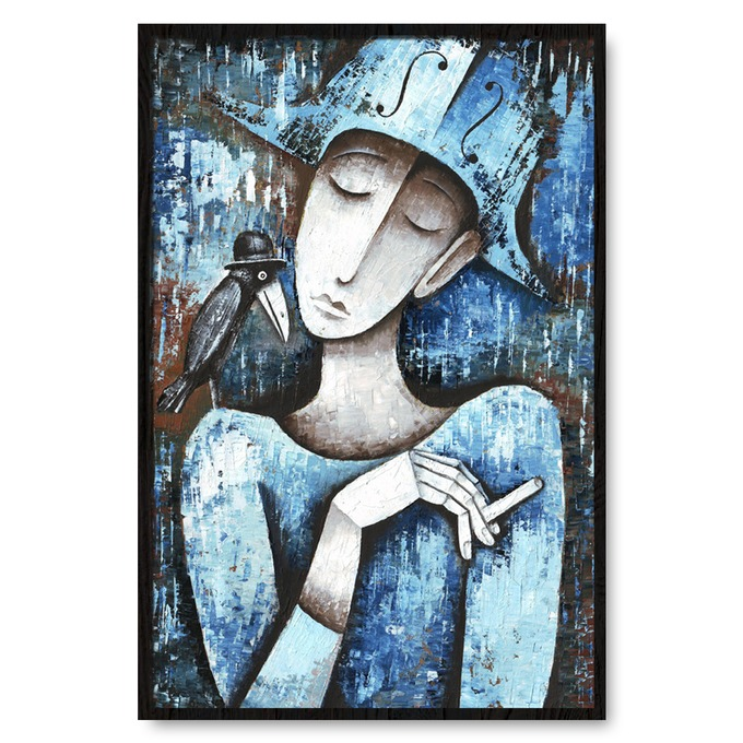 TRANH TREO TƯỜNG LADY SMOCKING WITH BIRD, ABSTRACT PAINTING