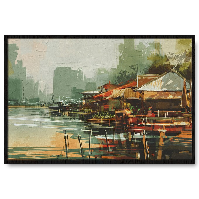 TRANH SƠN DẦU LANDSCAPE, COUNTRY, RIVER, PAINTING SNS284