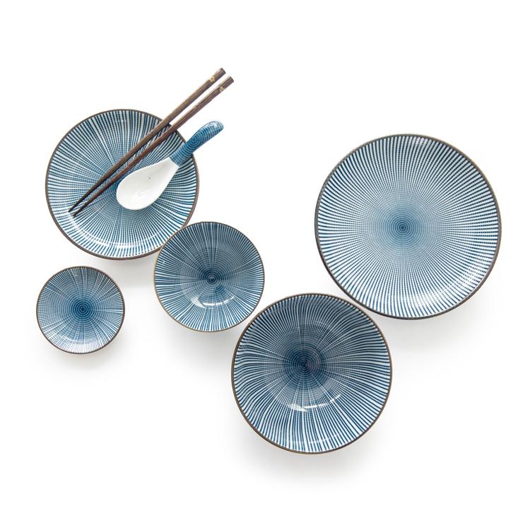 Chi tiết bộ bát đĩa ăn cơm Yashi hoạ tiết vẽ tự nhiên