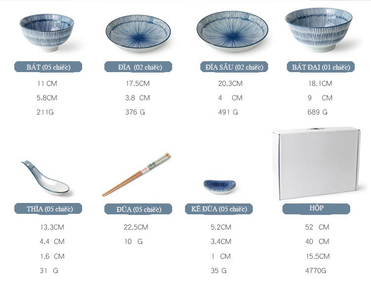 Kích thước bộ bát đĩa
